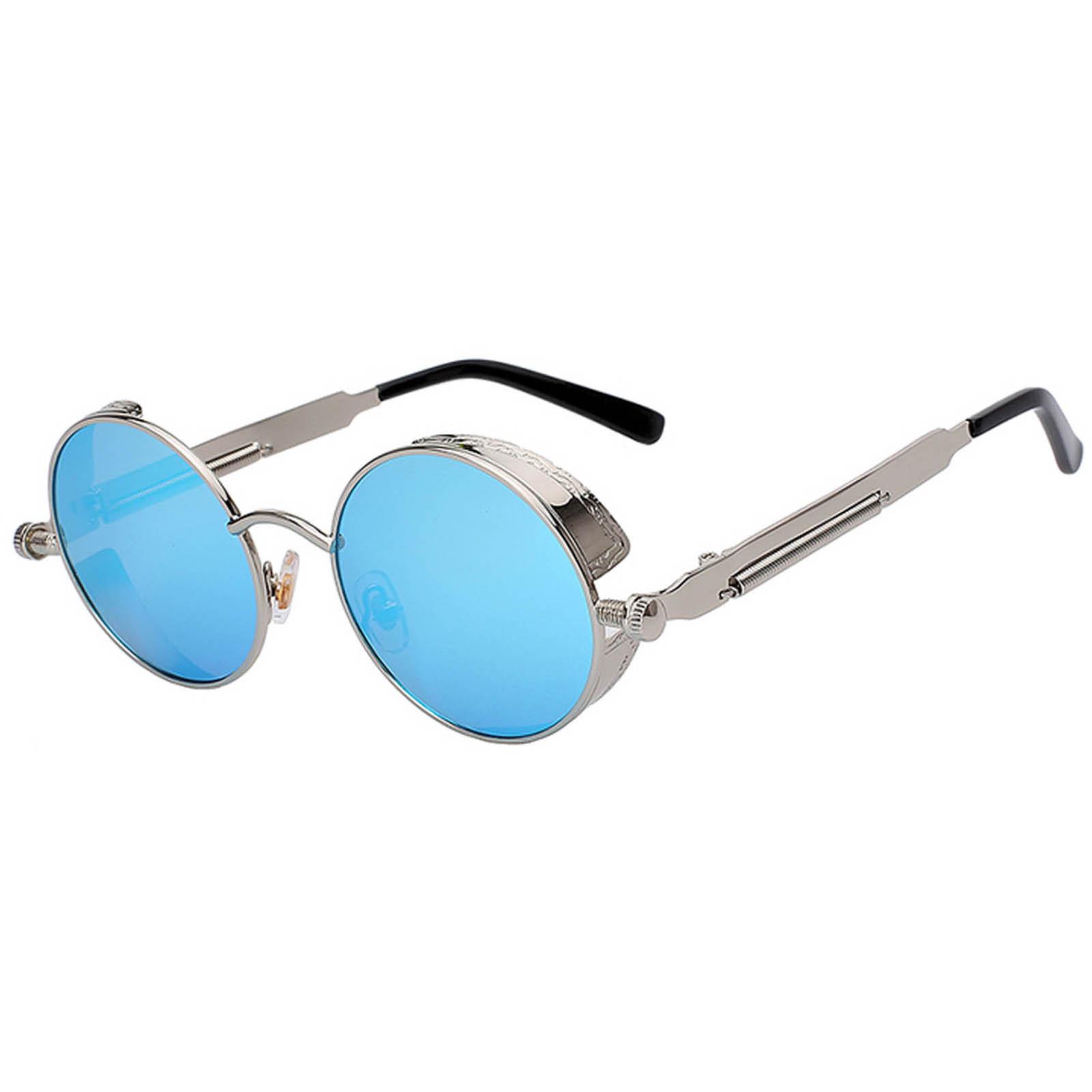 OWL ® Steampunk C6 Gothic Eyewear Sunglasses Women's Men's Metal Round Circle Silver Frame Blue Ice Mirror Lens One Pair