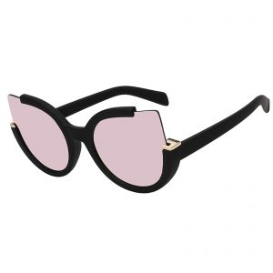 OWL ® 001 C5 Cat Round Eyewear Sunglasses Women's Men's Plastic Round Rubber Black Frame Pink Lens One Pair