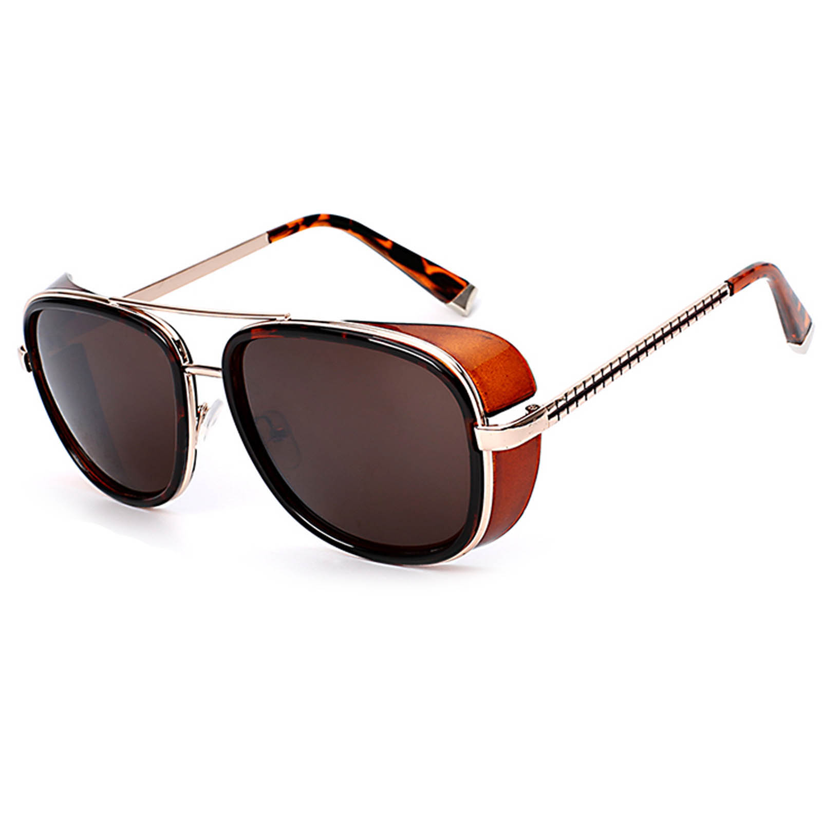 OWL ® 002 C4 Aviator Eyewear Sunglasses Women's Men's Metal Leopard Frame Brown Lens One Pair
