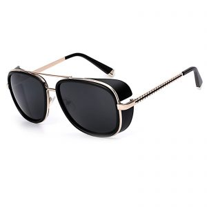 OWL ® 002 C6 Aviator Eyewear Sunglasses Women's Men's Metal Black Frame Black Lens One Pair