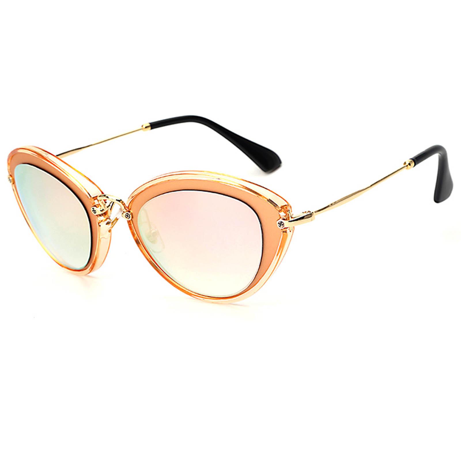 OWL ® 003 C5 Cat Eyewear Sunglasses Women\'s Men\'s Metal Orange Frame ...