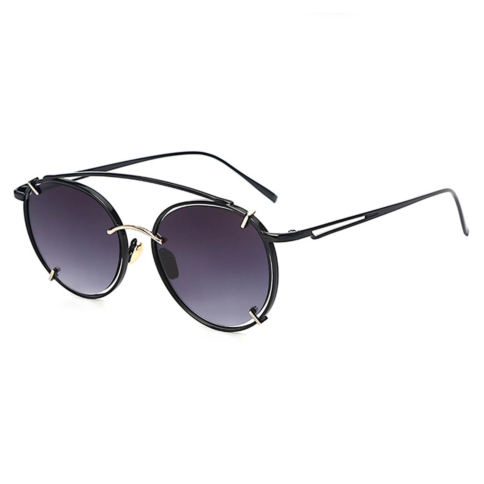 OWL ® 009 C1 Round Eyewear Sunglasses Women's Men's Metal Round Circle Black Frame Smoke Lens One Pair
