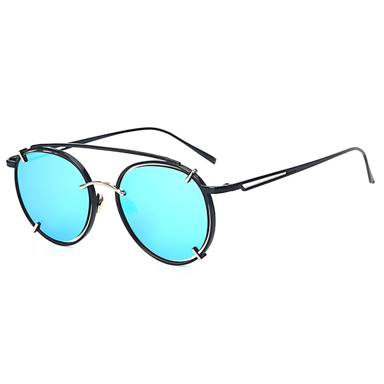 OWL ® 009 C4 Round Eyewear Sunglasses Women s Men s Metal Round Circle  Black Frame Blue Mirror dacc2cc85