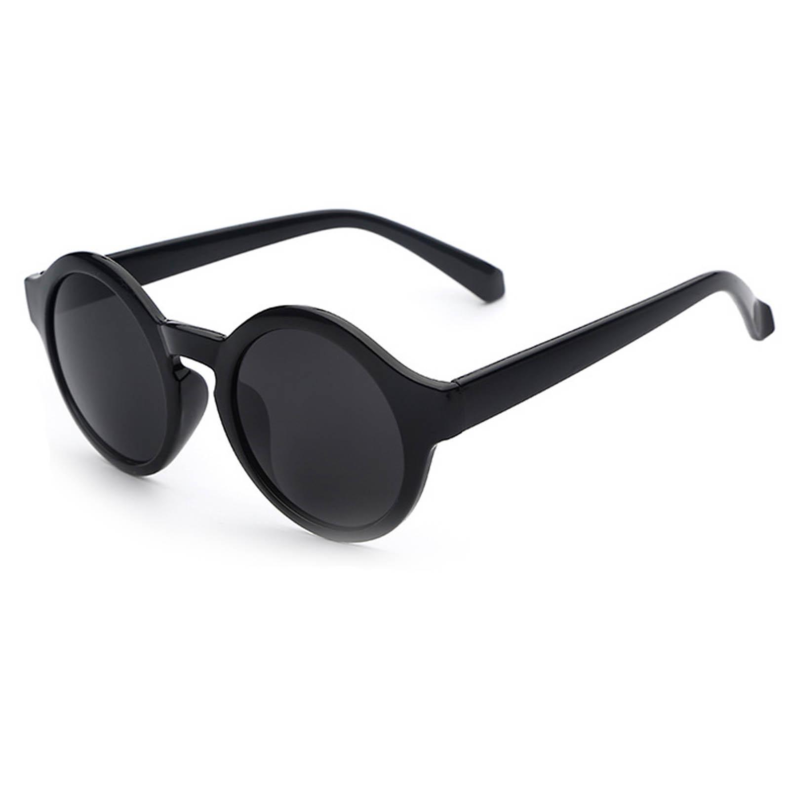 OWL ® 010 C1 Round Eyewear Sunglasses Women's Men's Plastic Round Circle Black Frame BlackLens One Pair