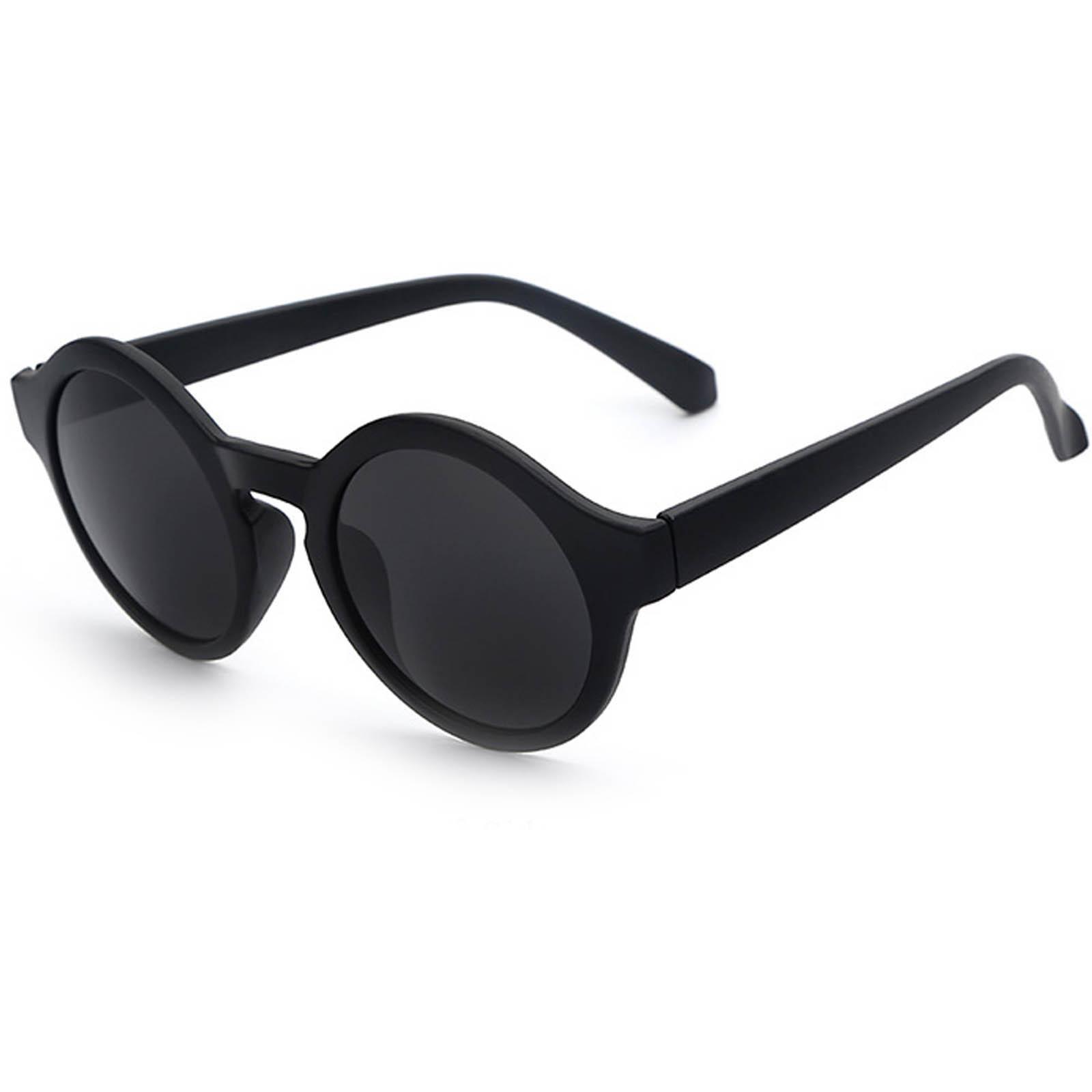 OWL ® 010 C5 Round Eyewear Sunglasses Women's Men's Plastic Round Circle Matte Black Frame Black Lens One Pair