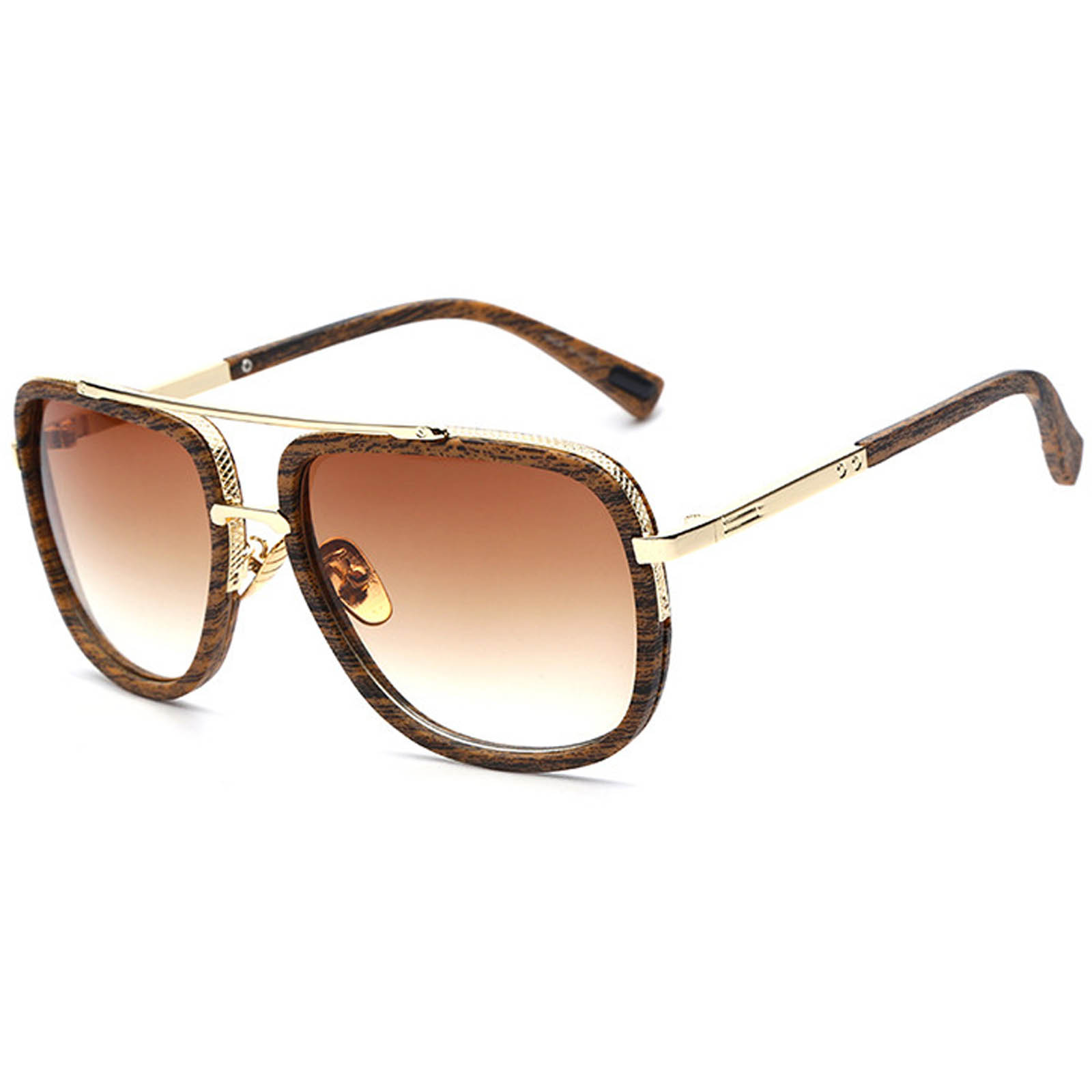 OWL ® 011 C8 Eyewear Sunglasses Women\'s Men\'s Metal Wood Frame Brown ...