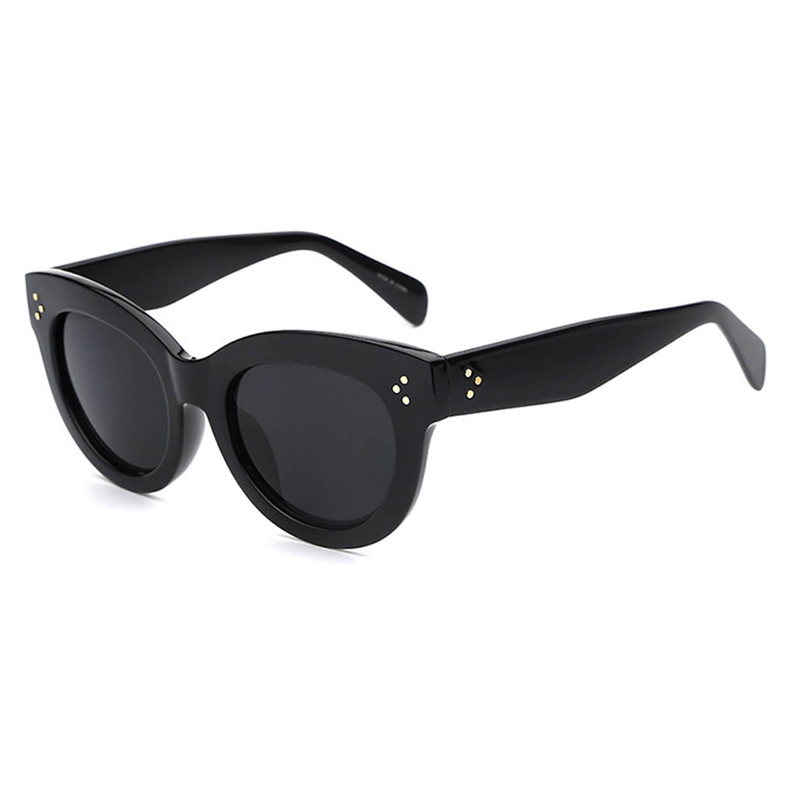 OWL ® 012 C1 Cat Eyewear Sunglasses Women's Men's Plastic Black Frame Black Lens One Pair