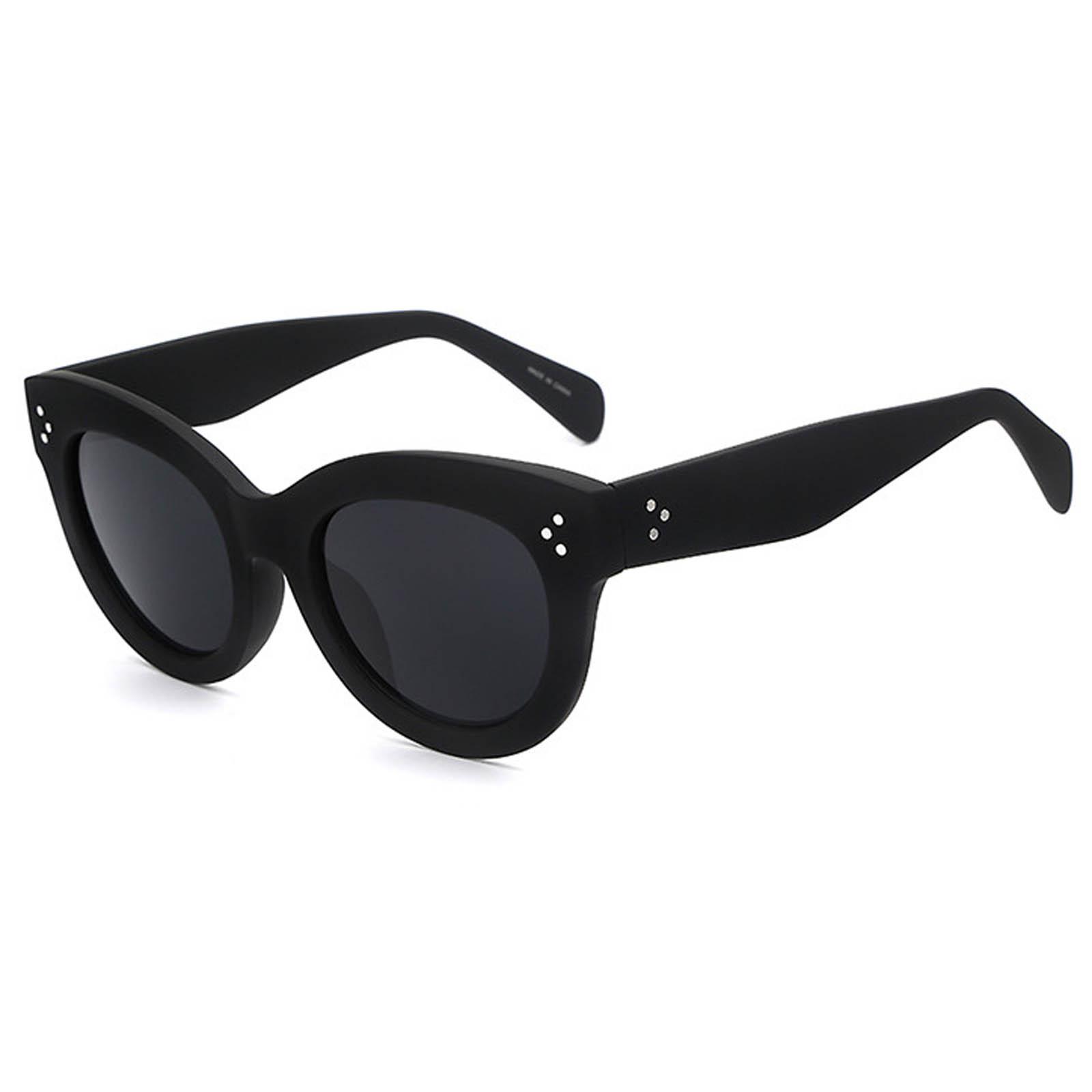OWL ® 012 C2 Cat Eyewear Sunglasses Women's Men's Plastic Black Frame Black Lens One Pair