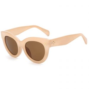 OWL ® 012 C4 Cat Eyewear Sunglasses Women's Men's Plastic Nude Frame Brown Lens One Pair