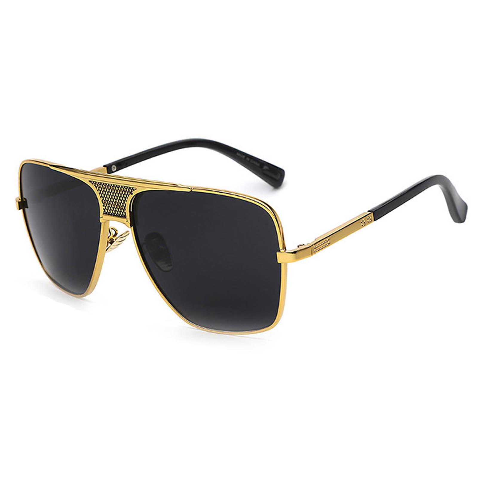 OWL ® 013 C1 Square Eyewear Sunglasses Women's Men's Metal Black Frame Black Lens One Pair