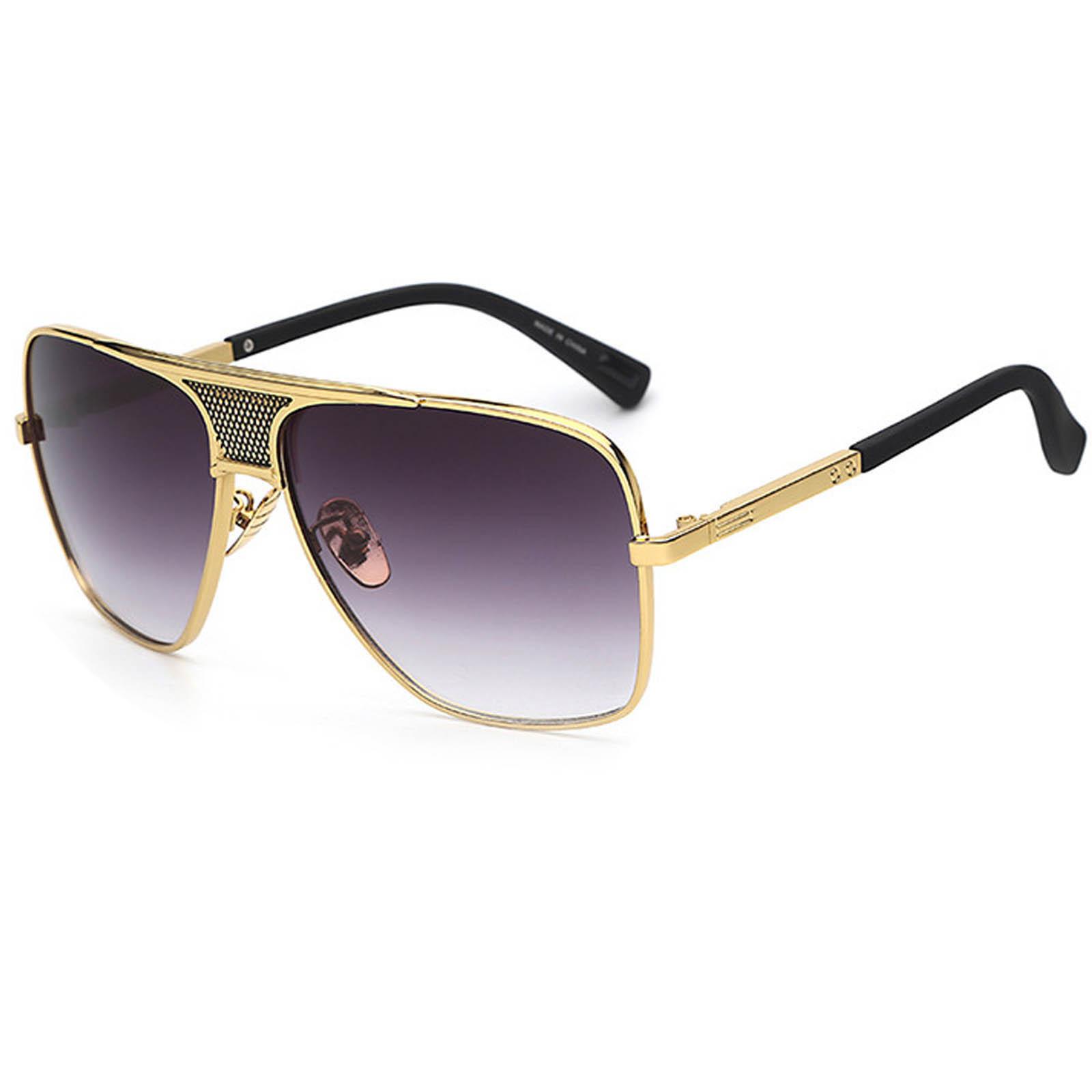 OWL ® 013 C2 Square Eyewear Sunglasses Women's Men's Metal Black Frame Smoke Lens One Pair
