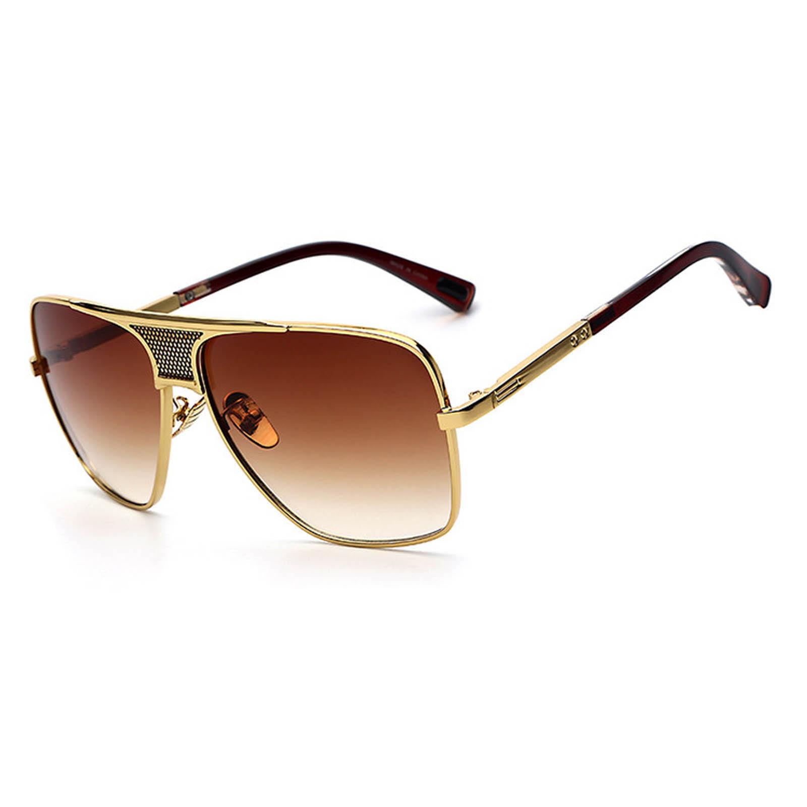 OWL ® 013 C3 Square Eyewear Sunglasses Women\'s Men\'s Metal Gold ...