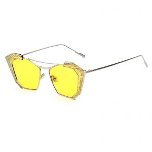OWL ® 016 C2 Cat Rectangle Eyewear Sunglasses Women's Men's Metal Silver Frame Yellow Lens One Pair