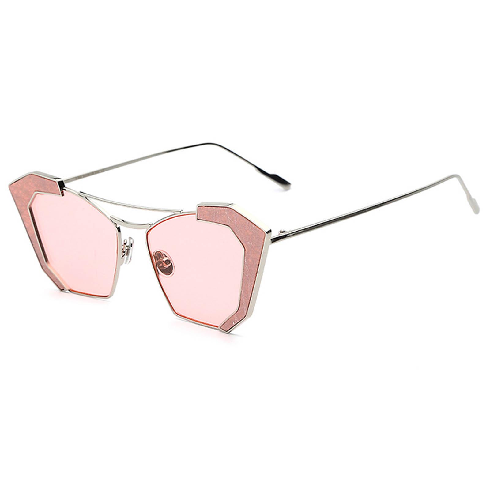 761a3387b3a OWL ® 016 C3 Cat Rectangle Eyewear Sunglasses Women s Men s Metal Silver  Frame Pink Lens One
