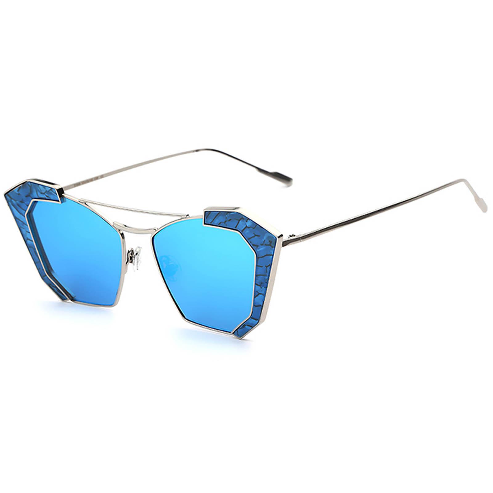 OWL ® 016 C7 Cat Rectangle Eyewear Sunglasses Women's Men's Metal Silver Frame Blue Lens One Pair