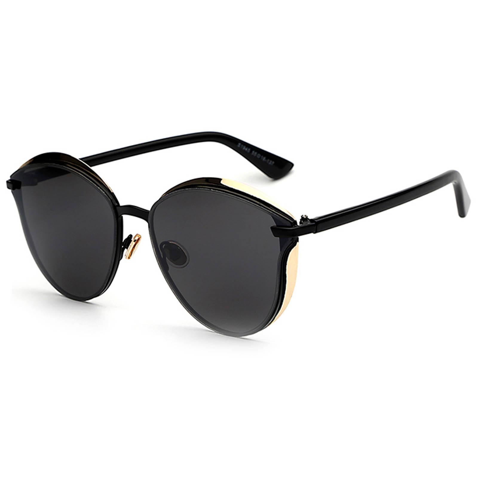 OWL ® 017 C1 Cat Round Eyewear Sunglasses Women's Men's Metal Round Black Frame Black Lens One Pair