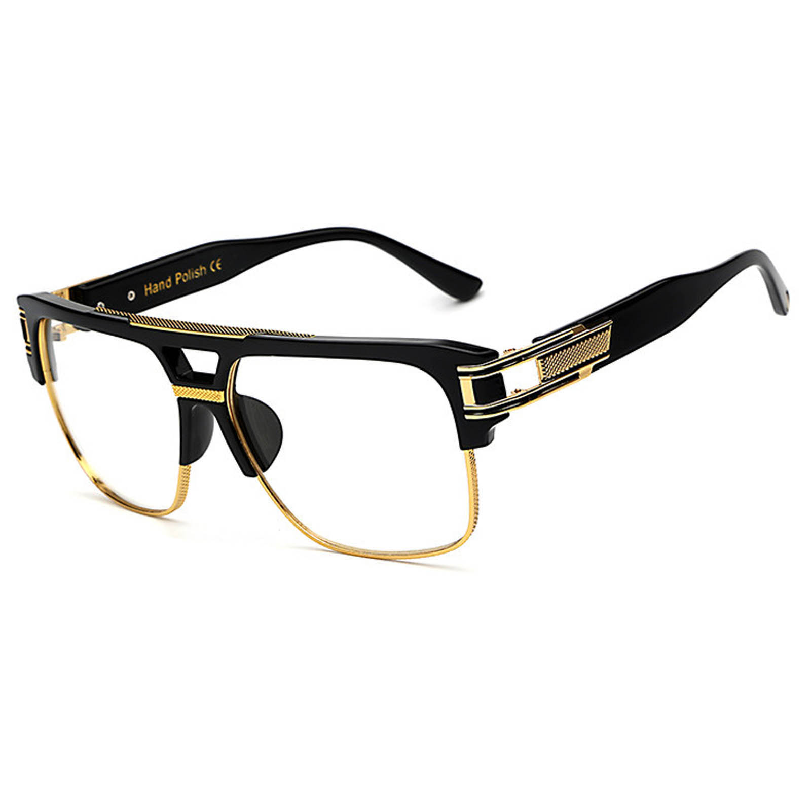 020 C3 Rectangle Sunglasses Men\'s Gold Black Frame Clear Lens One ...