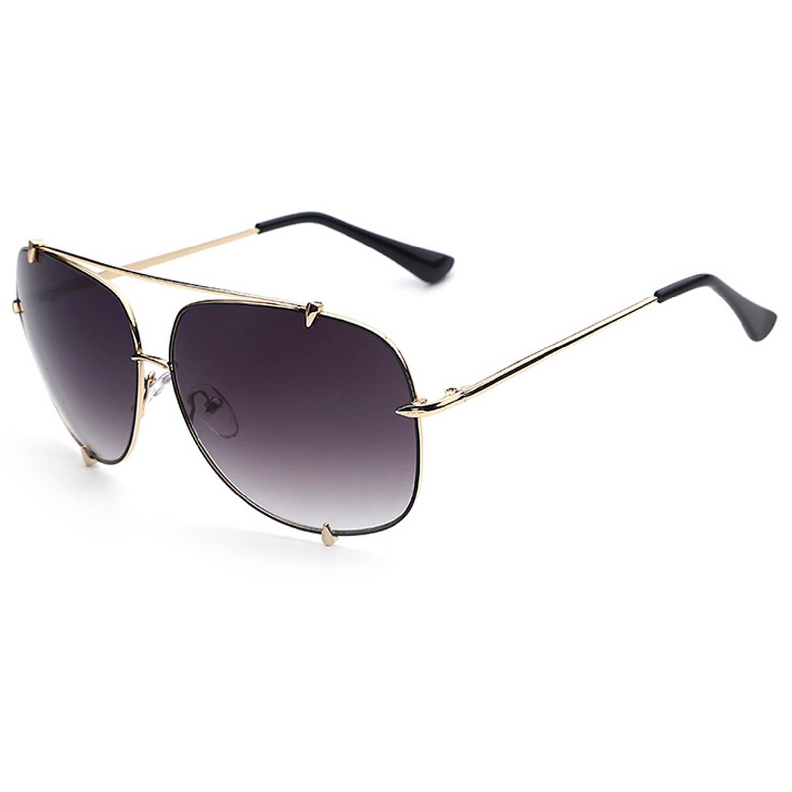 OWL ® 022 C4 Square Eyewear Sunglasses Women's Men's Metal Gold Frame Smoke Lens One Pair