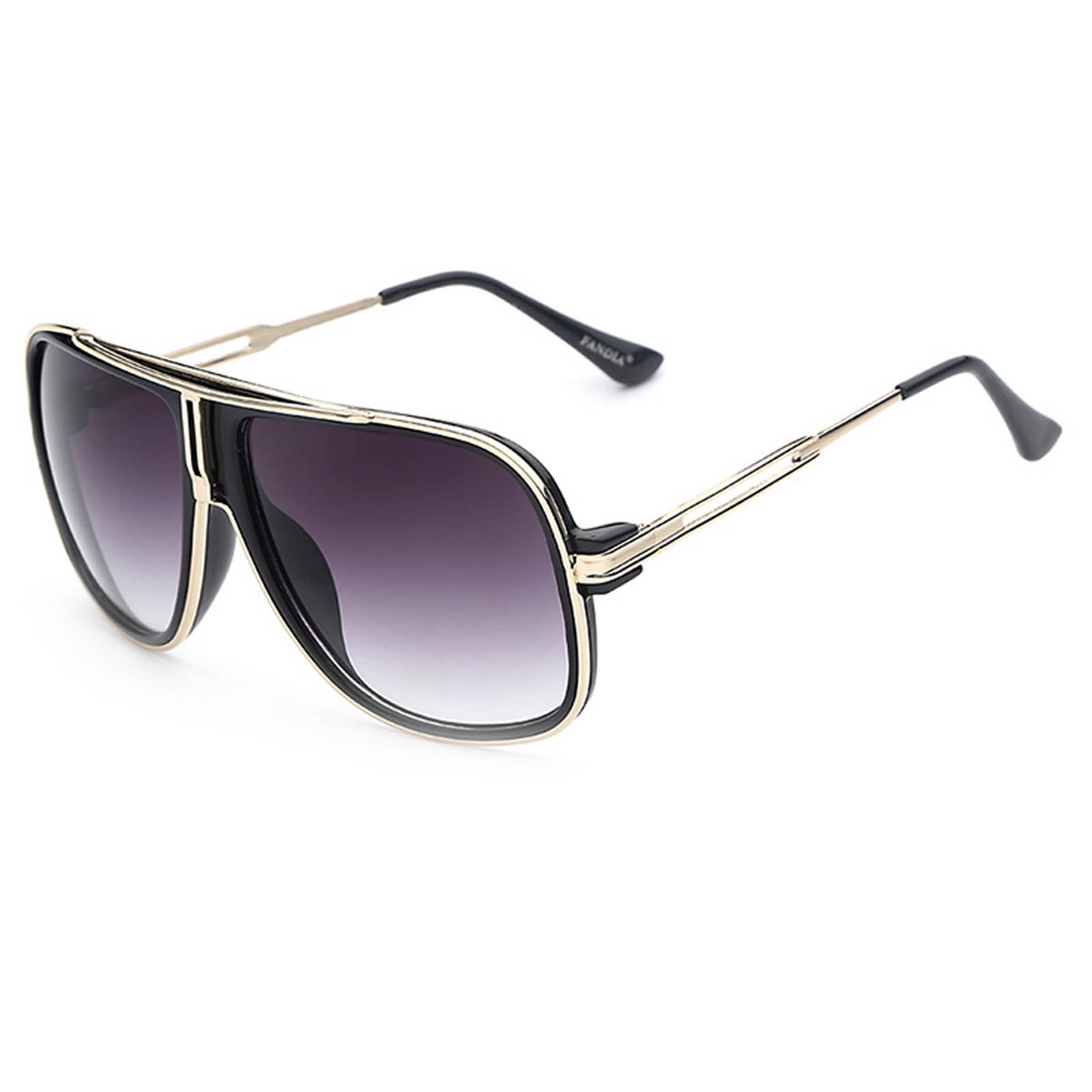 OWL ® 023 C1 Square Eyewear Sunglasses Women's Men's Metal Black Frame Smoke Lens One Pair