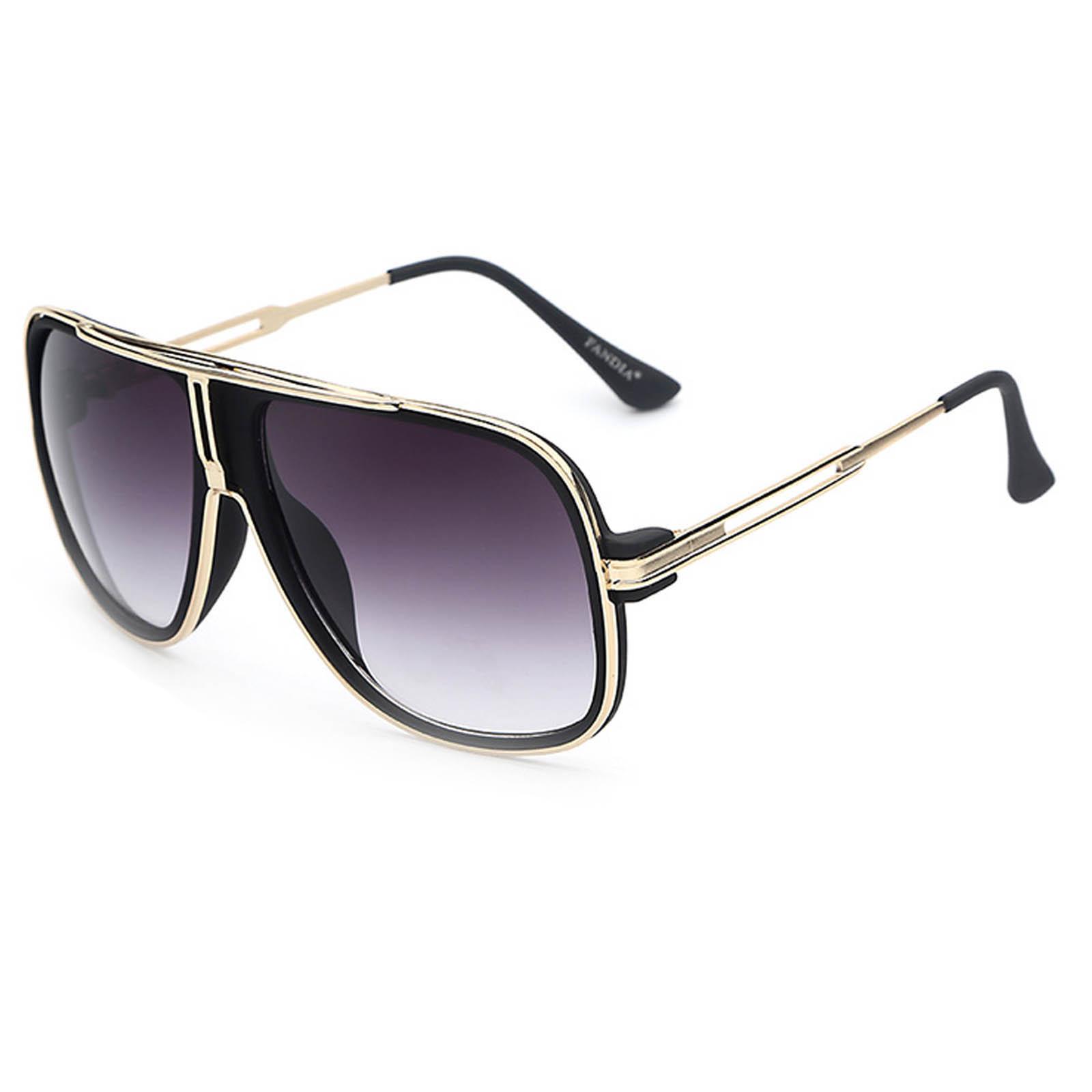 OWL ® 023 C2 Square Eyewear Sunglasses Women's Men's Metal Black Frame Smoke Lens One Pair