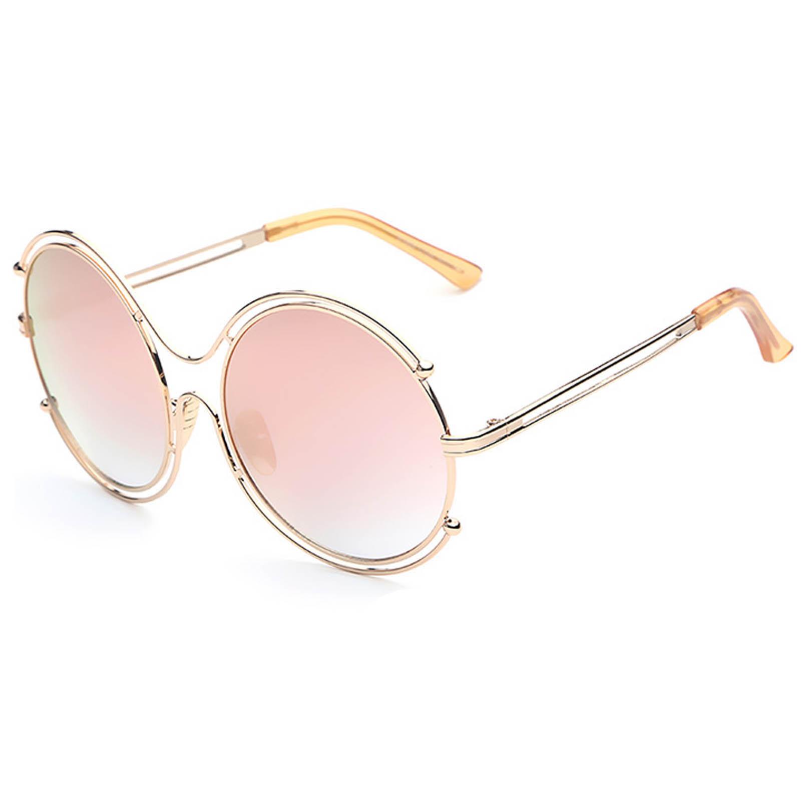 OWL ® 025 C2 Round Eyewear Sunglasses Women s Men s Metal Round Circle Gold  Frame Pink Mirror 53936320c6