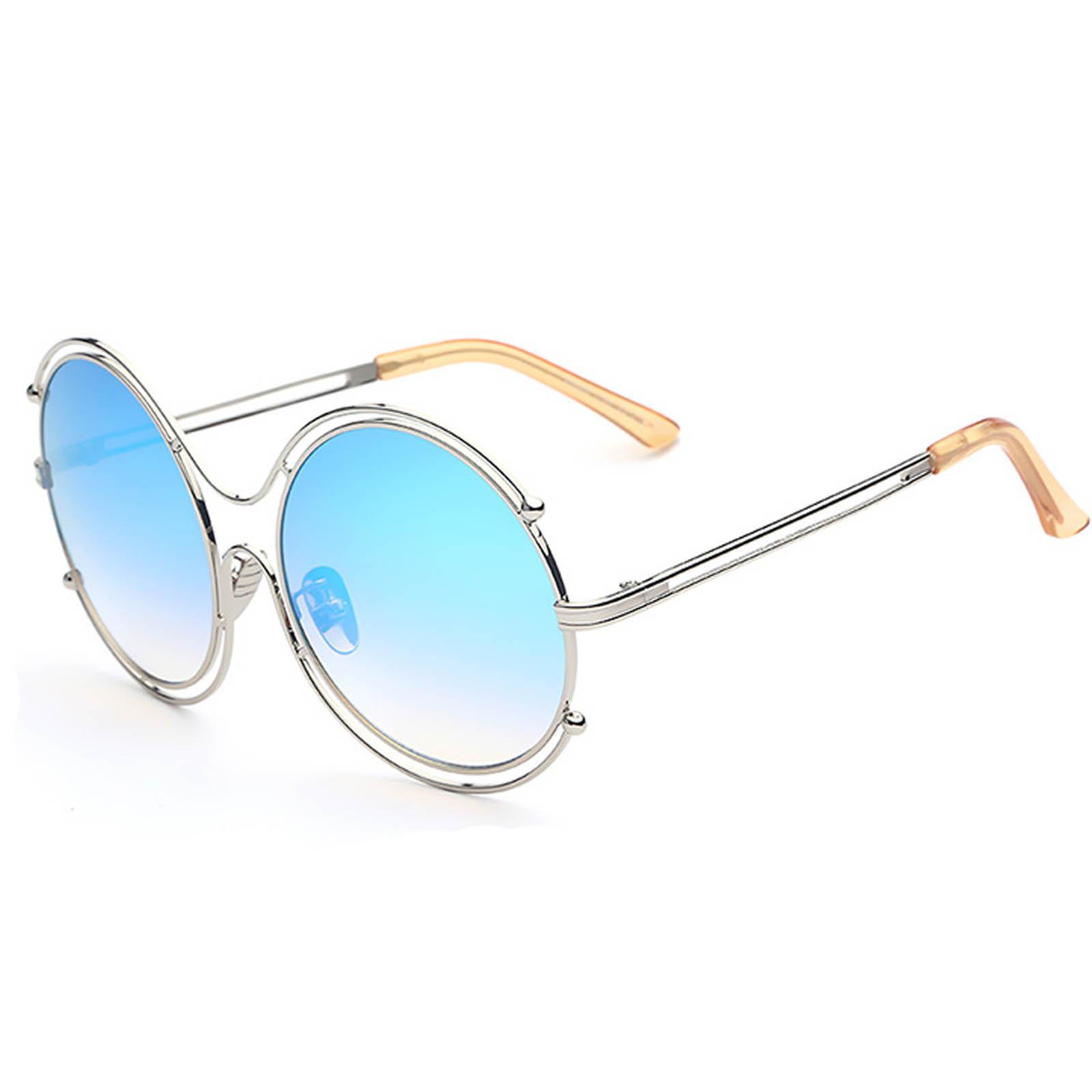 30b69a252a OWL ® 025 C3 Round Eyewear Sunglasses Women s Men s Metal Round Circle  Silver Frame Blue Mirror