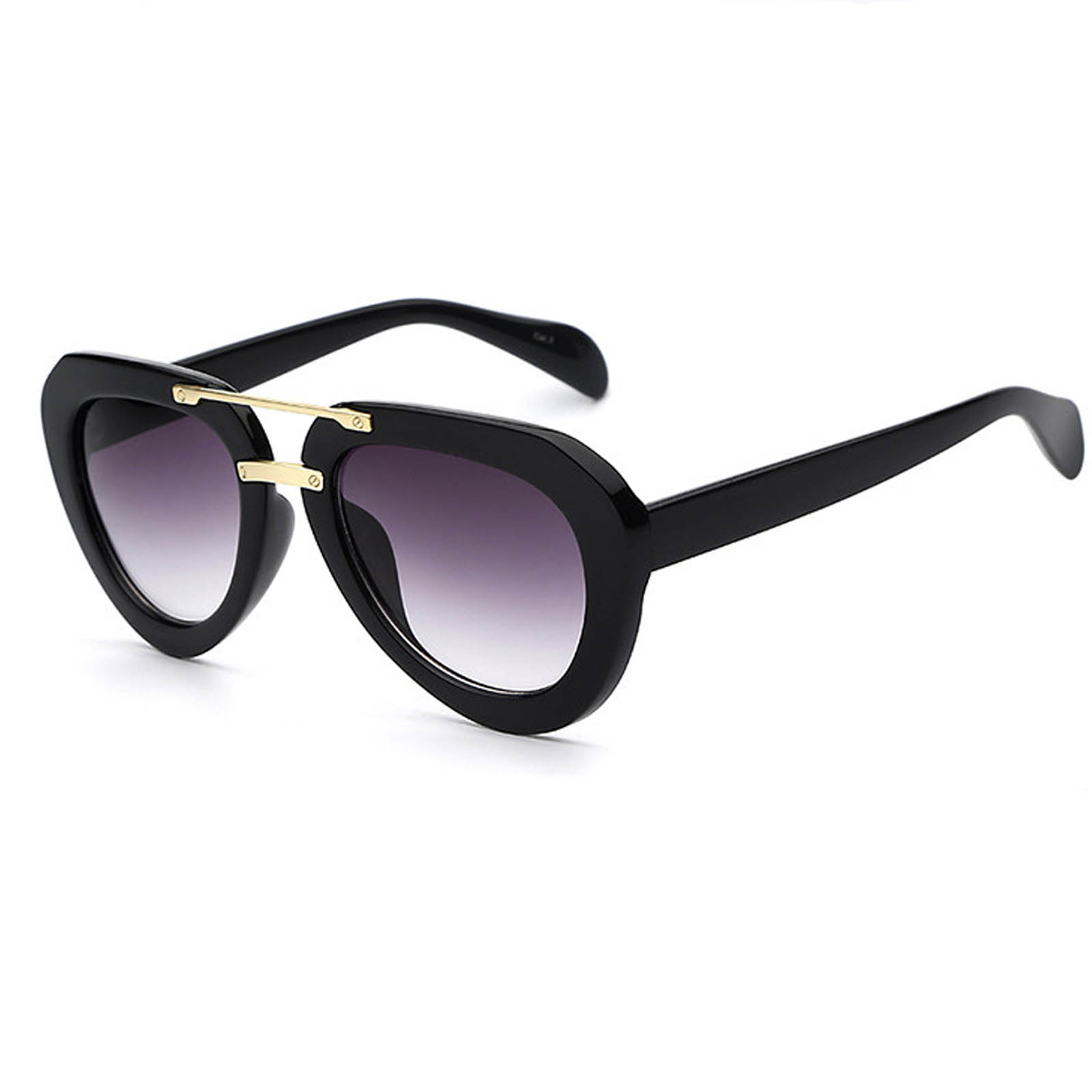 OWL ® 028 C1 Aviator Eyewear Sunglasses Women's Men's Plastic Black Frame Smoke Lens One Pair