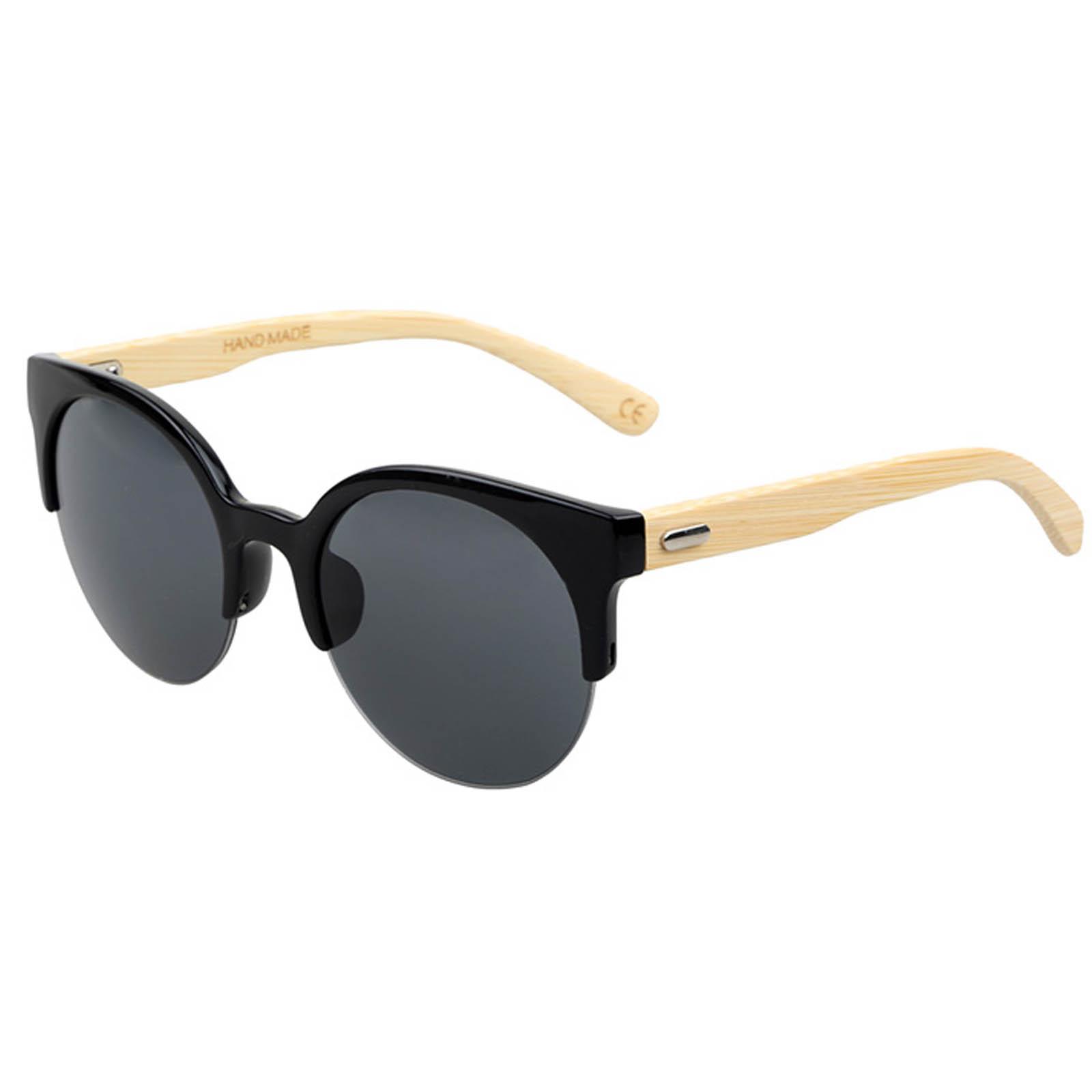 OWL ® 037 C1 Cat Eyewear Sunglasses Women\'s Men\'s Bamboo Black Frame ...