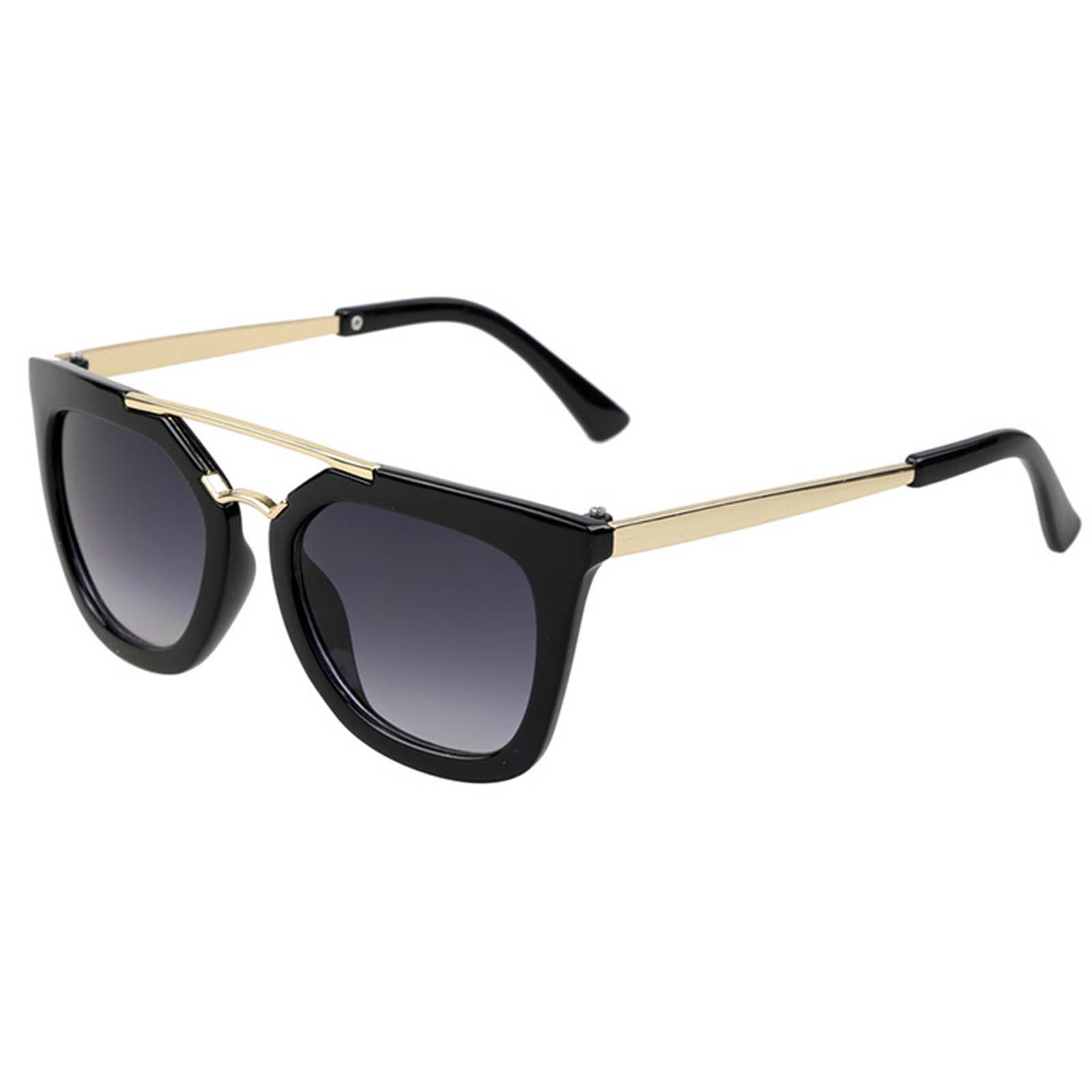 OWL ® 043 C3 Cat Round Eyewear Sunglasses Women's Men's Metal Black Frame Smoke Lens One Pair