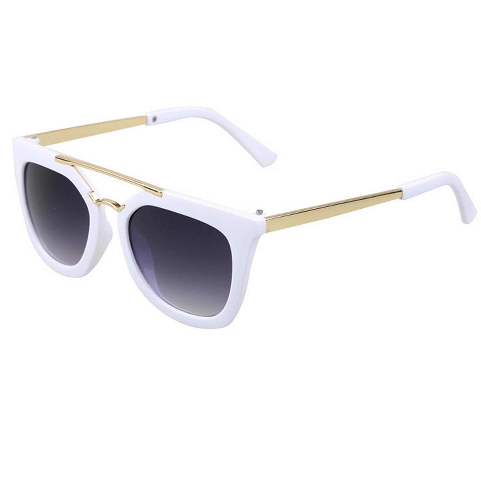 OWL ® 043 C5 Cat Round Eyewear Sunglasses Women's Men's Metal White Frame Smoke Lens One Pair