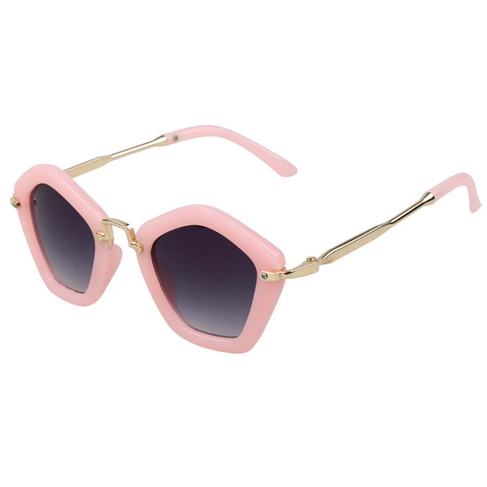 OWL ® 044 C2 Round Pentagon Eyewear Sunglasses Women's Men's Metal Nude Frame Smoke Lens One Pair