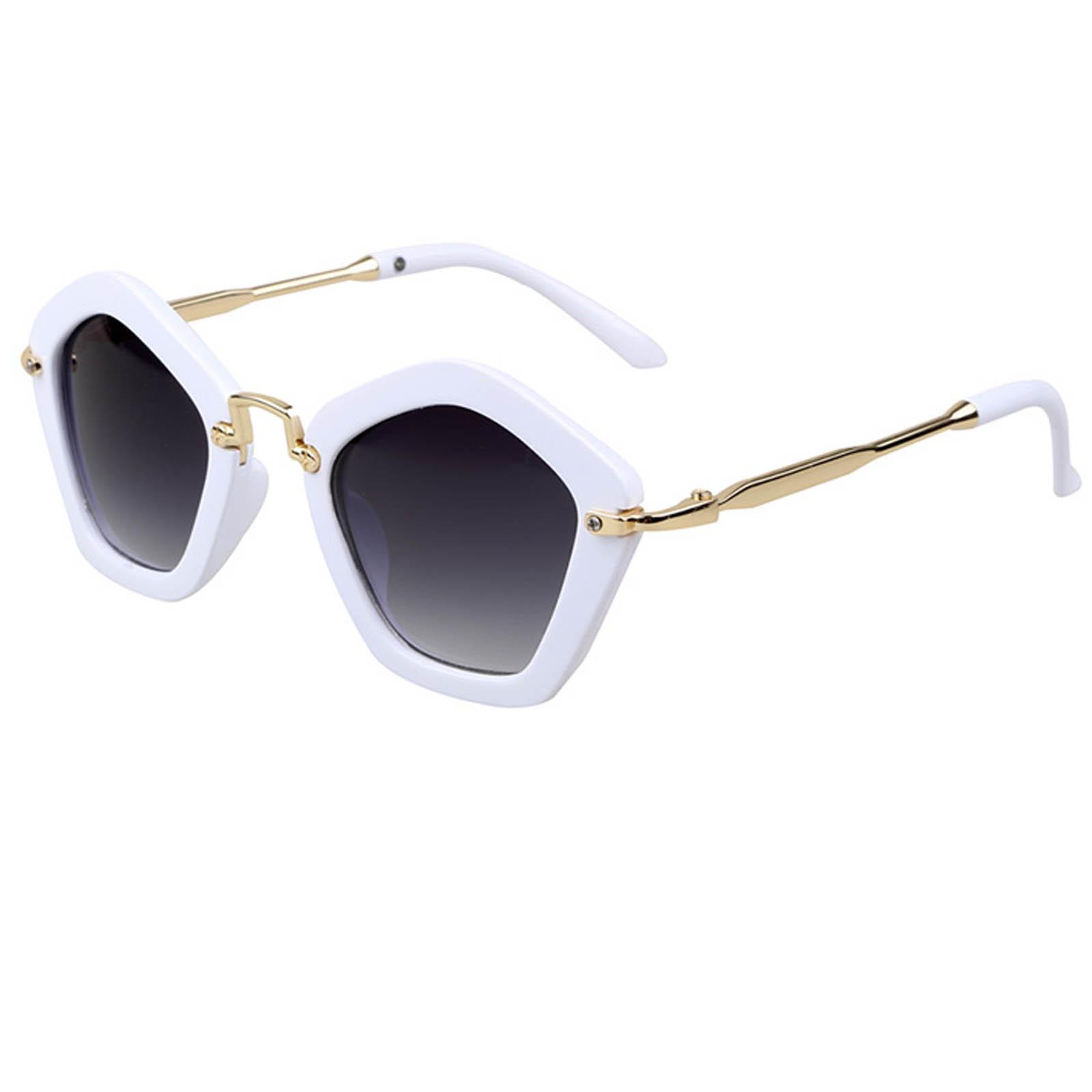 OWL ® 044 C6 Round Pentagon Eyewear Sunglasses Women's Men's Metal White Frame Smoke Lens One Pair