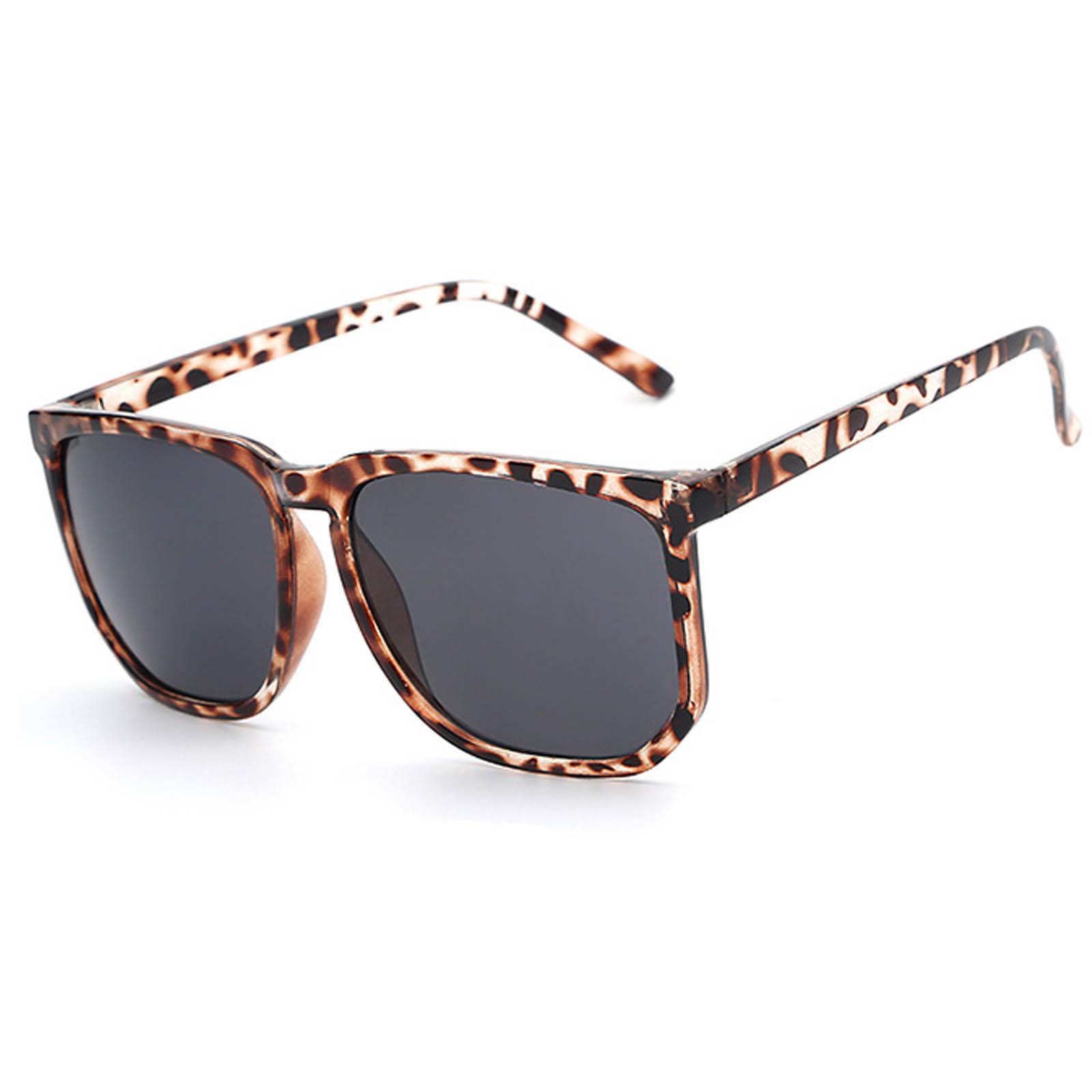 9d6e5e44c2 OWL ® 046 C2 Rectangle Eyewear Sunglasses Women s Men s Metal Leopard Frame  Black Lens One Pair