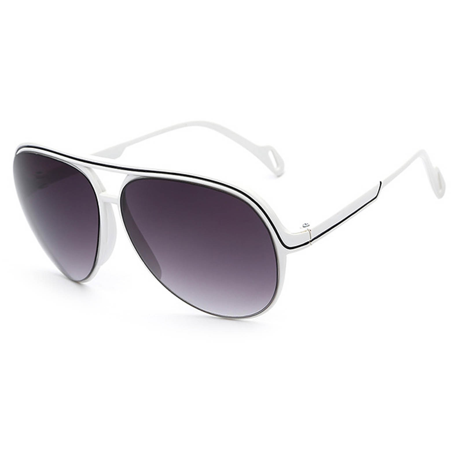 f907fcf55c OWL ® 047 C2 Aviator Eyewear Sunglasses Women s Men s Plastic White Frame  Smoke Lens One Pair