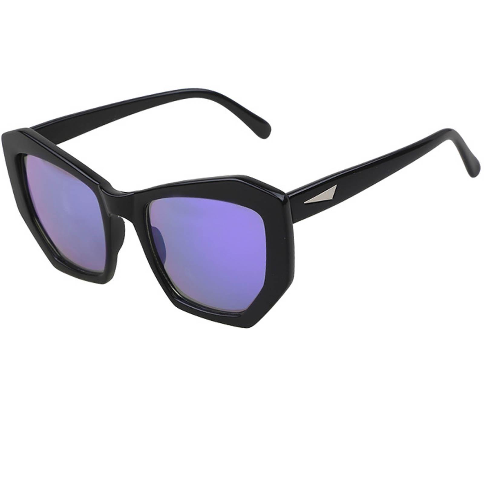OWL ® 059 C1 CatPentagon Eyewear Sunglasses Women's Men's Plastic White Frame Purple Lens One Pair