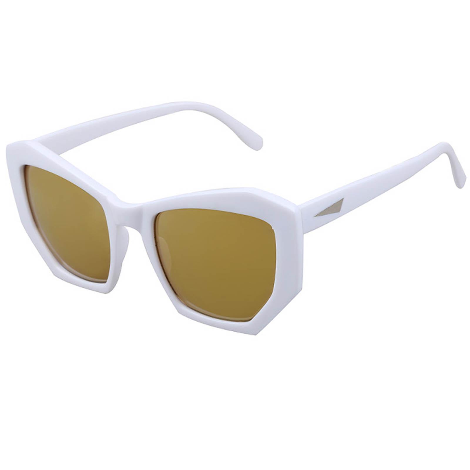 OWL ® 059 C2 Cat Pentagon Eyewear Sunglasses Women's Men's Plastic White Frame Gold Lens One Pair