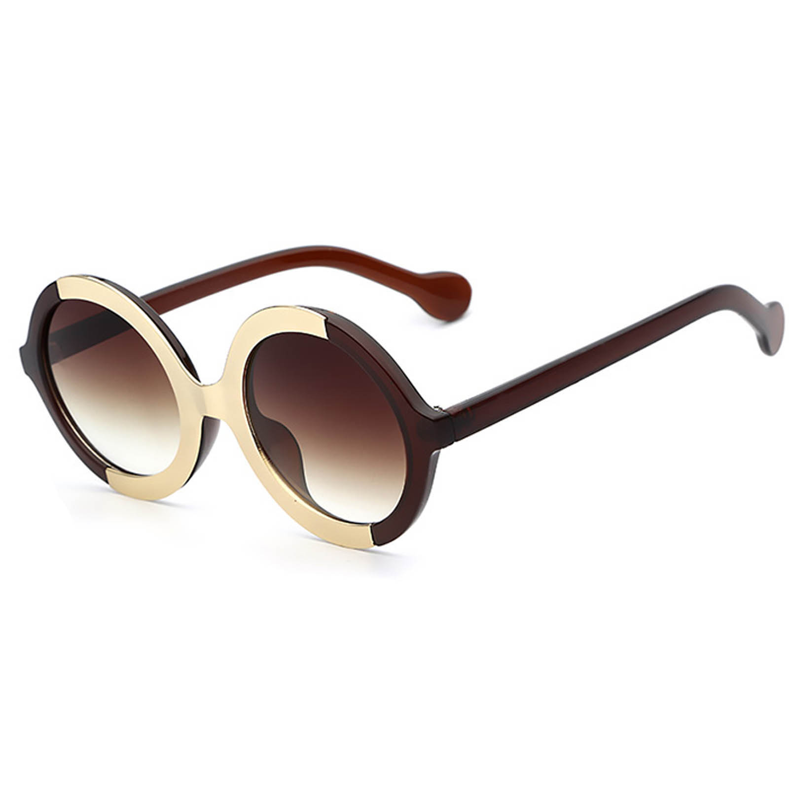OWL ® 051 C1 Round Eyewear Sunglasses Women's Men's Plastic Round Circle Brown Frame Brown Lens One Pair