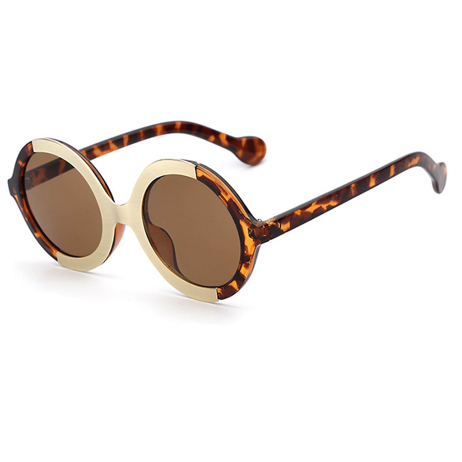 OWL ® 051 C2 Round Eyewear Sunglasses Women's Men's Plastic Round Circle Leopard Frame Brown Lens One Pair