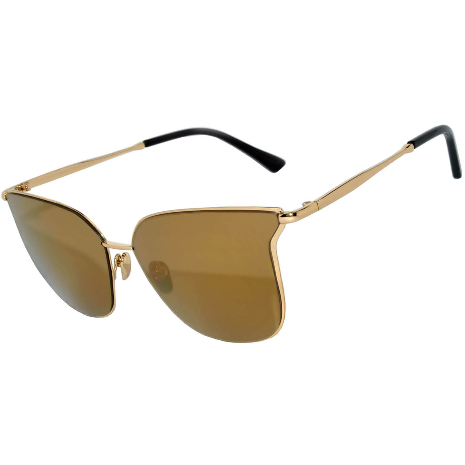 1634a172d22 OWL ® Eyewear Sunglasses 86009 C2 Women s Metal Fashion Gold Frame Brown  Mirror Lens One Pair