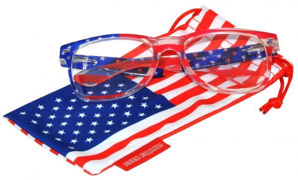 OWL ® Eyewear Retro Sunglasses American Clear Flag Frame Clear Lens (One Pair)