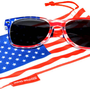 OWL ® Eyewear Retro Sunglasses American Clear Flag Frame Smoke Lens (One Pair)