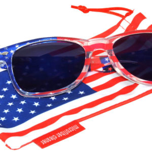 OWL ® Eyewear Retro Sunglasses American Clear Flag Frame Blue Mirror Lens (One Pair)