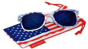 OWL ® Eyewear Retro Sunglasses American Ice Flag Frame Blue Mirror Lens (One Pair)