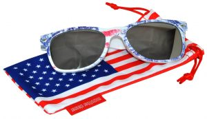 OWL ® Eyewear Retro Sunglasses American Ice Flag Frame Silver Mirror Lens (One Pair)