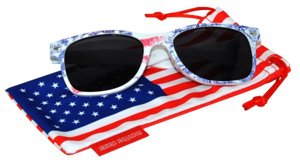 OWL ® Eyewear Retro Sunglasses American Ice Flag Frame Smoke Lens (One Pair)