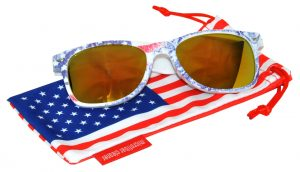 OWL ® Eyewear Retro Sunglasses American Ice Flag Frame Yellow Mirror Lens (One Pair)