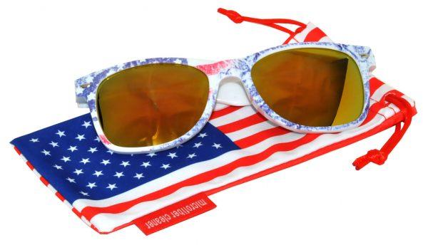 OWL ® Eyewear Retro Sunglasses American Ice Flag Frame Yellow Mirror Lens (One Pair)