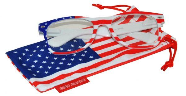 OWL ® Eyewear Retro Sunglasses American White Flag Frame Blue Mirror Lens (One Pair)