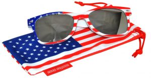 OWL ® Eyewear Retro Sunglasses American White Flag Frame Silver Mirror Lens (One Pair)