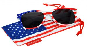 OWL ® Eyewear Retro Sunglasses American White Flag Frame Smoke Lens (One Pair)